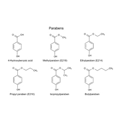Structural chemical formulas of parabens vector
