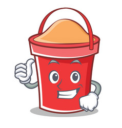 thumbs up bucket character cartoon style vector image