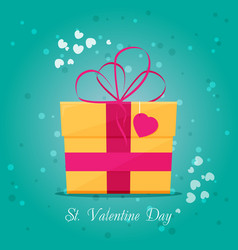 valentines day card with gift vector image