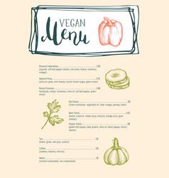 vegan cafe menu typographic layout vector image