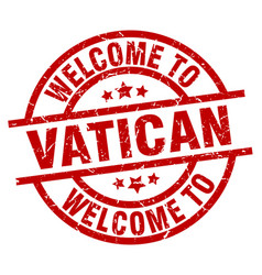 Welcome to vatican red stamp vector