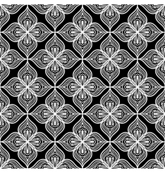 White openwork lace seamless pattern on black vector