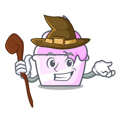 witch ice cream paper cup mascot cartoon vector image