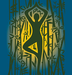 yoga meditation at sunrise in bamboo forest vector image