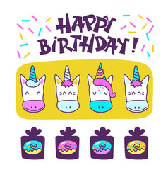 cute unicorns happy birthday vector image