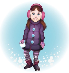 girl with snowball vector image vector image