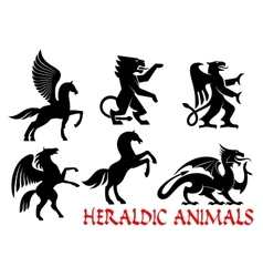 Heraldic mythical animals icons vector image