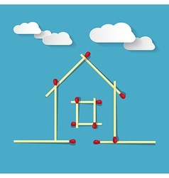 House Symbol Made from Matches on Blue Background vector image vector image