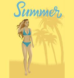 woman at sand beach vector image vector image