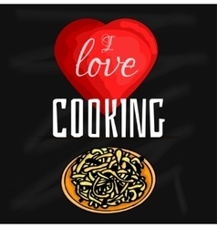 colorful of I love cooking vector image