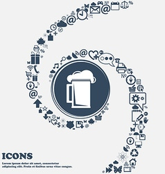 glass of beer icon sign in the center Around the vector image