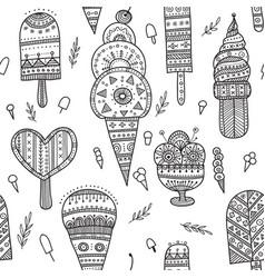 ice cream seamless pattern in ethnic ornate boho vector image