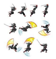 Ninja Flying Attack Game Sprite vector image vector image