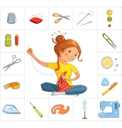 Seamstress girl and sewing tools line vector