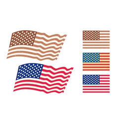 set american flags vector image