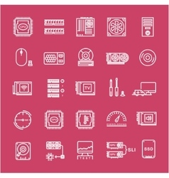 Set Flat Line Icons Upgrading Computer vector image vector image