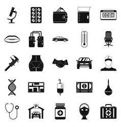 working year icons set simple style vector image vector image