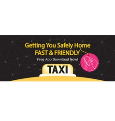 24 Hour Taxi Service 1500x600 Pixel Banner vector image vector image