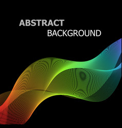 abstract colorful lines wave on black background vector image vector image