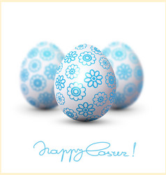 easter egg with a blue pattern on vector image vector image