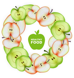 Healthy Food Slice of Apple Round Frame vector image vector image