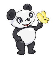 little panda and butterfly vector image vector image