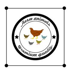 Logos and badges farm animals hen vector