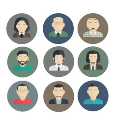 male faces icons of characters in a flat style vector image vector image