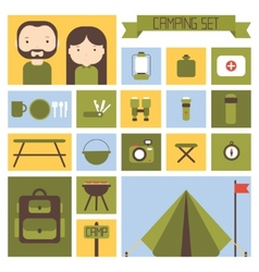 Set of flat colorful camping equipment symbols and vector image