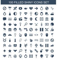 100 shiny icons vector