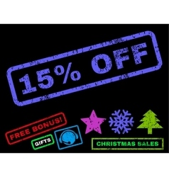 15 Percent Off Rubber Stamp vector