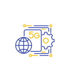 5g network line icon vector image