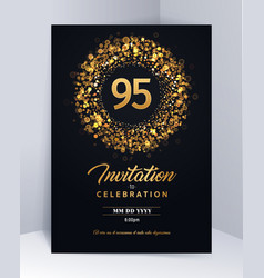 95 years anniversary invitation card template vector image