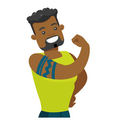 African-american man with a tattoo showing biceps vector