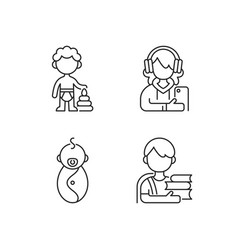 Aging process linear icons set vector