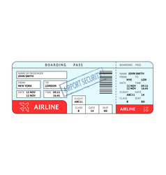 airport ticket with filled fields and security vector image