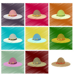 Assembly flat shading style icons women hat vector