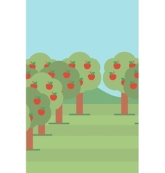 Background of trees with red apples vector