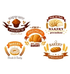 Bakery shop emblem with bread and sweet cakes vector image