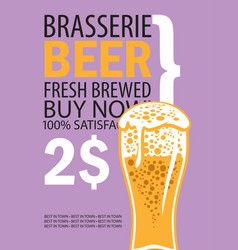 Banner for brasserie with glass of beer vector