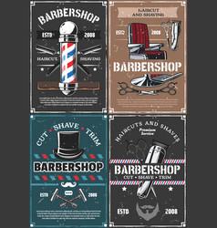 Barbershop pole chair razor scissors and brush vector
