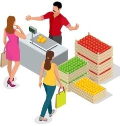 Beautiful woman shopping fresh fruits fruit vector