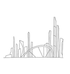 Big bridge city skyscraper sketch hand drawn vector