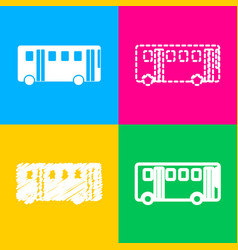 bus simple sign four styles of icon on four color vector image
