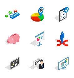 Business analytics icons isometric 3d style vector