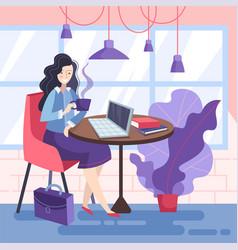 Businesswoman enjoying a break from office vector
