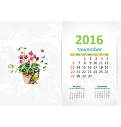 Calendar for 2016 November vector image