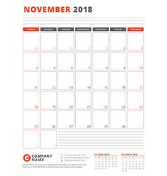 calendar template for 2018 year november business vector image