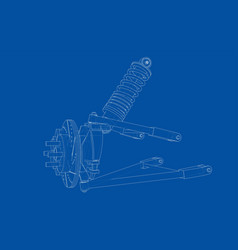 car suspension with shock absorber vector image