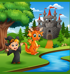 Cartoon of little witch and dragon in the park vector